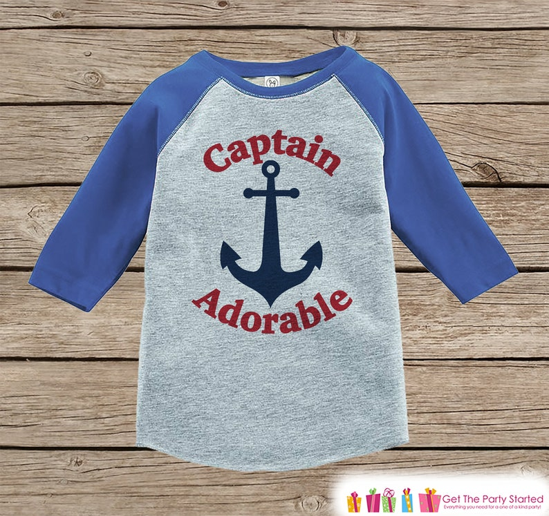 aed74ca37caa Funny Nautical Boys Shirt - Captain Adorable Blue Raglan Shirt - Baby Boy  Anchor Tshirt - Novelty Raglan Tee for Baby Boys