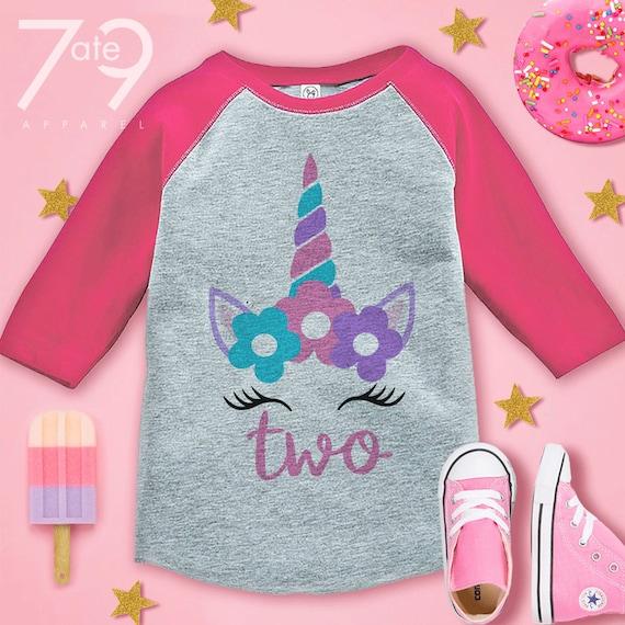7 ate 9 Apparel Kids First Birthday Unicorn Raglan Tee Pink