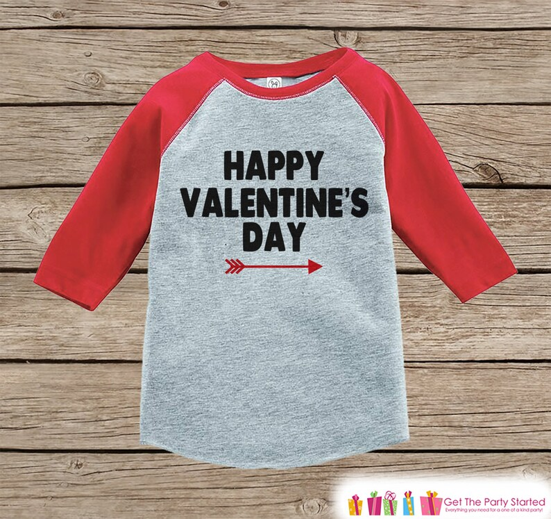 d70e6bb87051 Kids Valentines Outfit - Happy Valentine's Day Shirt - Boy or Girl  Valentine Shirt - Kids, Baby, Toddler, Youth - Red Raglan