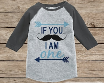 First Birthday Mustache Outfit - Boys 1st Birthday T-shirt - Mustache Grey Raglan Shirt - 1st Birthday - Birthday Raglan Tee