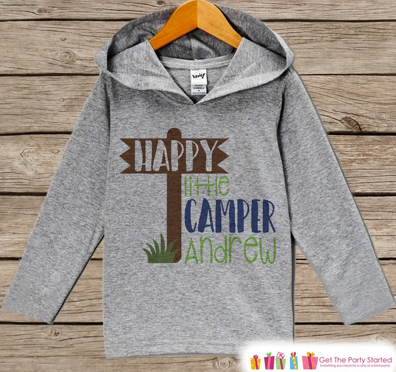 Camp Shirt Grey Pullover Infant Toddler Camping Shirt Kids Hoodie Nature Happy Little Camper Hoodie Outdoor Aventure Hiking