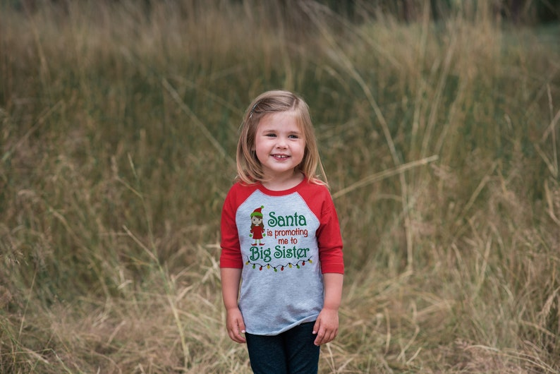 7b641f5c9bb87 Big Sister Christmas Outfit Pregnancy Announcement Shirt | Etsy