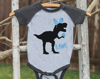 Boys Easter Outfit - Dinosaur Easter Shirt or Onepiece - Boy Easter Egg Hunt Shirt - Baby, Toddler, Youth - Bunny Ears - Easter Egg - Grey
