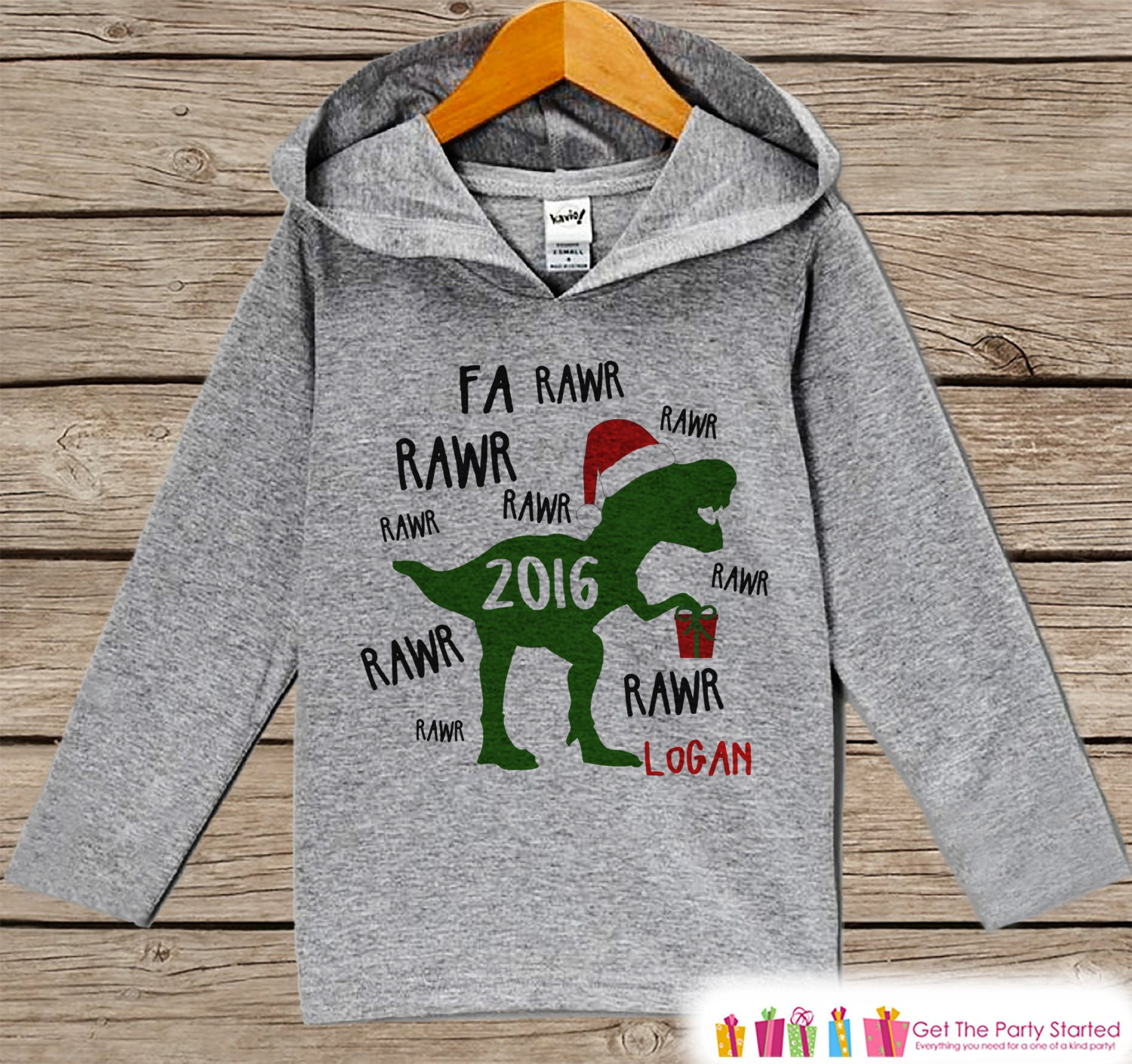 5f2d261ce Dinosaur Christmas Sweater Funny Kids Holiday Outfit Grey
