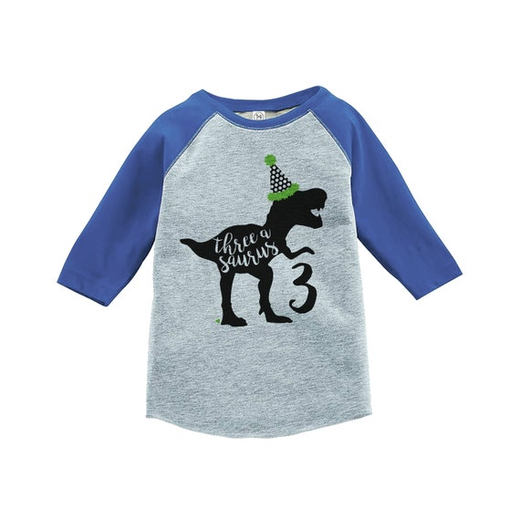 Dinosaur Three Birthday Shirt Boys 3rd Dino