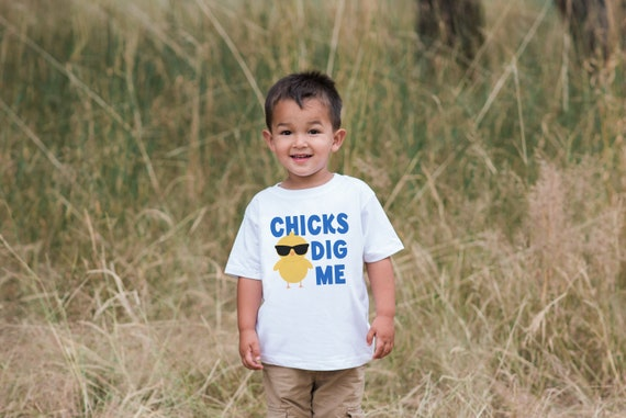 Chicks Are All Over Me Easter Funny Baby Chicken Kids Boys T-Shirt