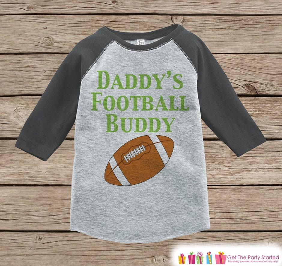 Boys Novelty Football Outfit - Baby Boys T-shirt - Daddys Football Buddy Grey Raglan Shirt - Kids Raglan Tee - Infant Toddler Unisex Tshirt