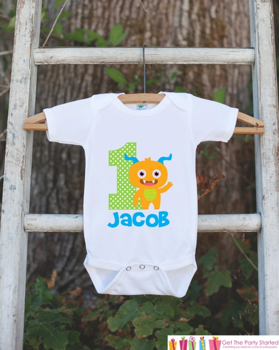 a3d968be Monster Birthday Outfit - Personalized Bodysuit For Boy's 1st Birthday  Party - First Birthday Little Monster Birthday Onepiece With Name