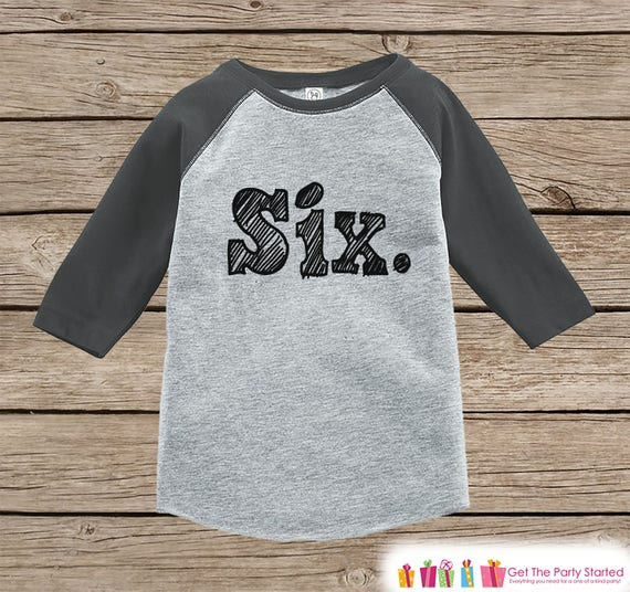 6th Birthday Baseball tee Sixth Birthday Boy shirt Sixth Birthday Boy Baseball Tee Six Birthday Shirt