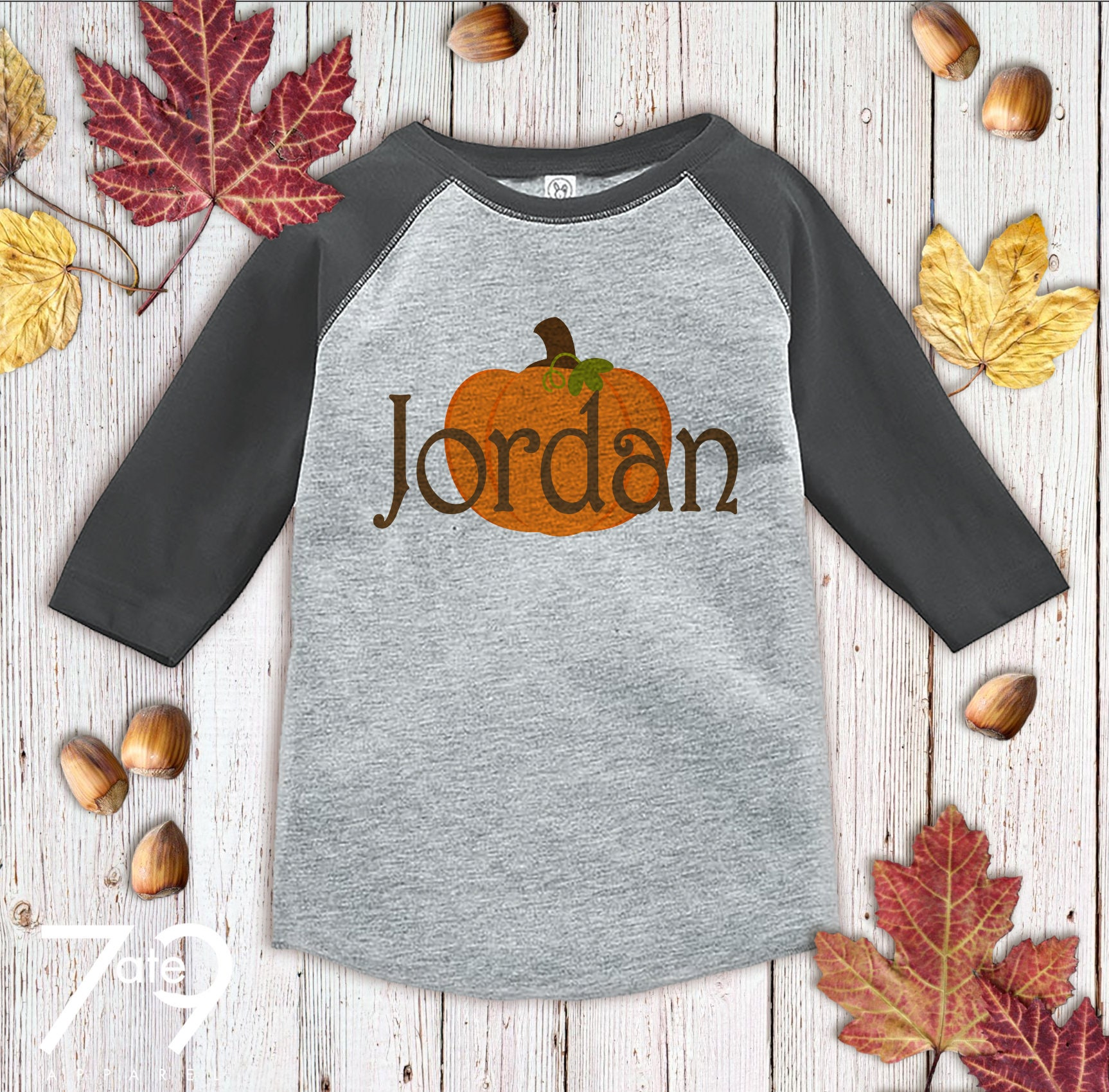 Thanksgiving Outfit - Custom Pumpkin Shirt - Boy Or Girl Thanksgiving Or Halloween Shirt - Grey Raglan Tshirt - Kids Fall Shirt Unisex Tshirt