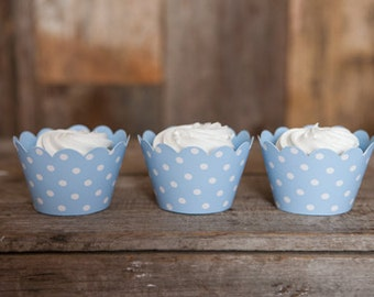 12 Light Blue Polka Dot REVERSIBLE Cupcake Wrappers - Solid Blue & Polka Dot Cupcake Wrappers 2 in 1! Perfect for Birthdays and Weddings