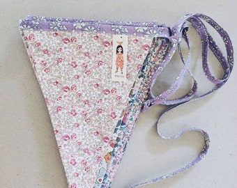LIBERTY BUNTING Constructed from Liberty Fabric Cotton Tana Lawn. 12 mixed-print flags, 3 metre length. Pastel shades or Bright Shades