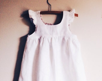 WINNIE Hi-Lo DRESS In White Cotton - Larger sizes 5y, 6y, 7y, 8y, 9y Bodice Lined in Liberty Fabric