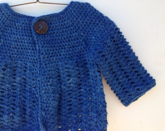 CHILDREN's DEB CARDIGAN Medium Blue ethically produced wool and angora blend coat - cardigan