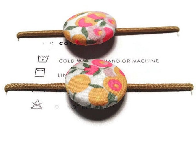 LIBERTY BUTTON Hair-ties Constructed from Liberty Fabric Cotton Tana Lawn set of two (2) Wiltshire Fluro
