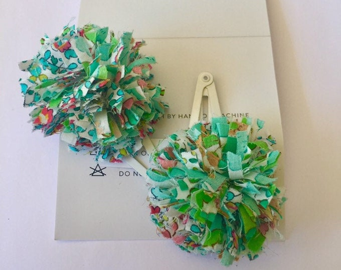 POMPOM LIBERTY HAIRCLIPS girls hair accessories - Green Set of Two (2)