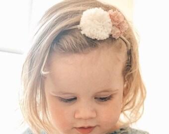 POPPY POMPOM HEADBAND. Nylon Hairband. Hair Accessories. Liberty Fabric PomPom + Cotton Yarn PomPom