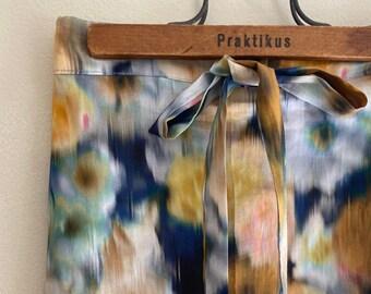 MAXI SKIRT // women's long skirt constructed in Liberty tana lawn // Print Hazy Days B (Navy/Mustard)