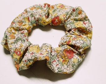 SCRUNCHIE made in Liberty Fabric - hair accessories for women and children. Liberty print CLAIRE AUDE  (yellow) size large