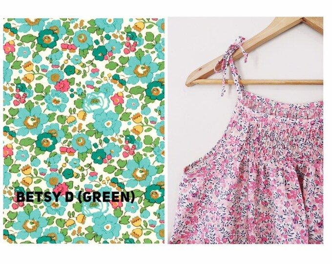 The HONEYCOMB Top or Dress constructed in Liberty Art Fabric print Betsy D (green) Girls sizes 3 years - 8 years