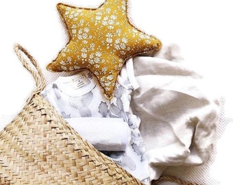 LIBERTY STAR PILLOW constructed from Liberty Fabric - Capel G (mustard) Children's room decoration, homewares, style