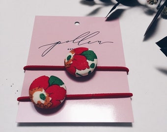 BUTTON HAIR TIES // Constructed from Liberty Fabric Tana Lawn // set of two (2) // Liberty print Betsy S (red).