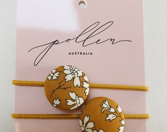 BUTTON HAIR TIES // Constructed from Liberty Fabric Cotton Tana Lawn //set of two // Liberty print Capel G (Mustard)