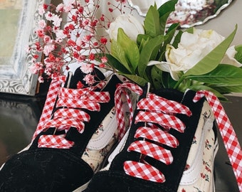 CHECK SHOELACES // constructed in cotton fabric // available in adult and children's sizes - Red + White Cotton Shoelaces