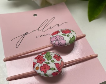Liberty BUTTON Hair-ties Constructed from Liberty Fabric Cotton Tana Lawn set of two (2) Liberty print D'Anjo (pink)
