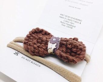 BOW-PEEP Knitted Bow Hairband. Nylon Hairband. Hair Accessories. Liberty Fabric.