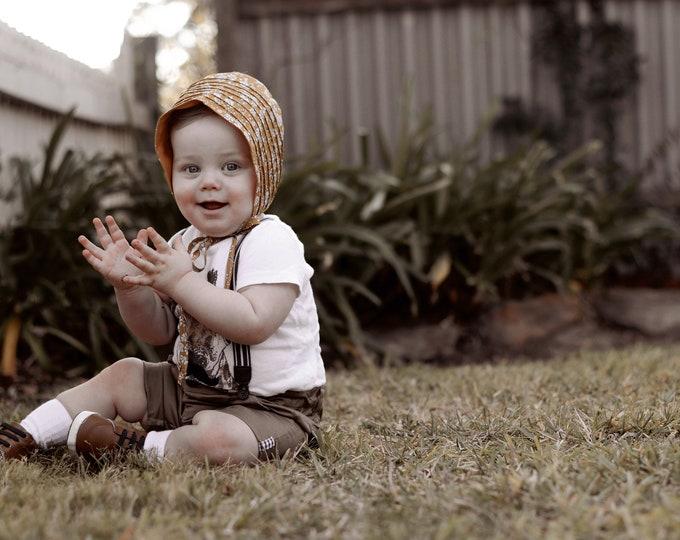 LIBERTY BABY BONNET Vintage Pintuck style baby hat Liberty Fabric tana lawn fabric Capel G (mustard)
