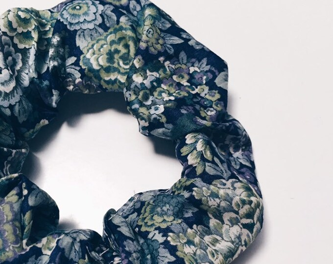 SCRUNCHIE made in Liberty Fabric - hair accessories for women and children. Liberty print ELYSIAN DAY (deep blue) size large