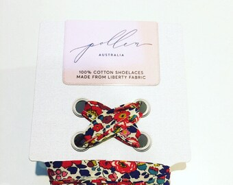 SHOELACES made in Liberty Fabric in adult and children's sizes - BETSY ANN A (navy-red)