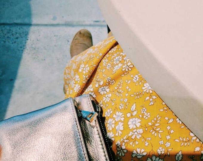 LIBERTY MAXI SKIRT women's long skirt constructed in Liberty tana lawn in Capel G (mustard)