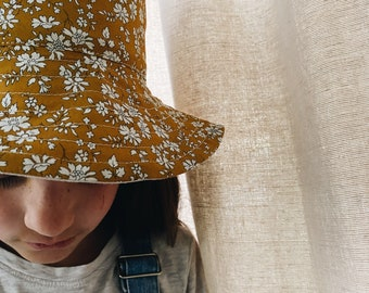 CHILDREN'S BUCKET HAT // Small, Medium, Large // Made with Liberty Fabric - Tana Lawn Outer// Capel G (Mustard) - Natural Linen Lining