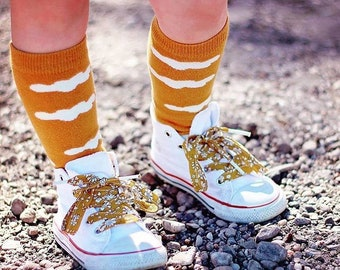 LIBERTY PRINT SHOELACES in adult and children's sizes - Capel G (Mustard)