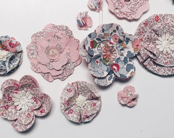 DECORATIVE PARTY FLOWERS constructed in Liberty Art Fabric - Mixed collection of 12 pink shades of Flowers