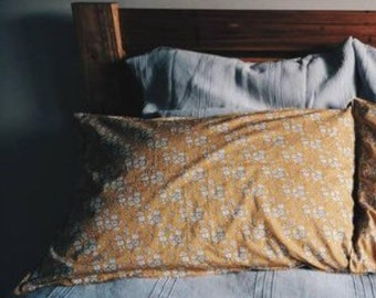 LIBERTY COTTON PILLOWCASE constructed from Liberty Tana Lawn in Capel G (Mustard)