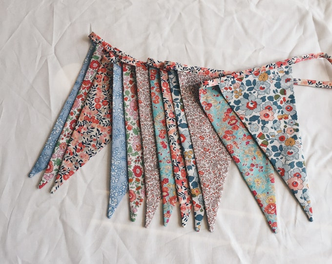 BUNTING Constructed from LIBERTY Fabric Cotton Tana Lawn. 12 mixed-print flags, 3 metre length Limited Edition