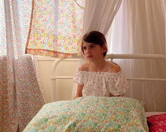 Single LUXE LIBERTY PILLOWCASE // Made with Liberty Fabric Tana Lawn// Liberty print Betsy D (Green) // Standard Size