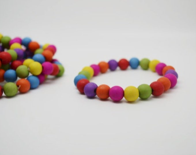 RAINBOW BEADED BRACELETS x 2 in children's size