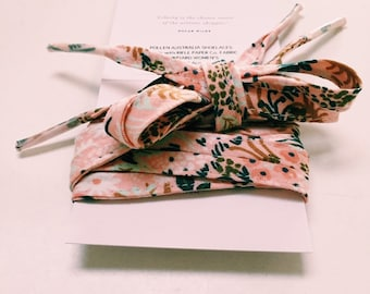 FABRIC SHOELACES - Rifle Paper Co. cotton fabric laces. Constructed in print English Garden - pink