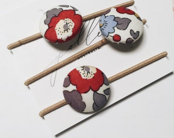 LIBERTY BUTTON Hair-ties Constructed from Liberty Fabric Cotton Tana Lawn set of three (3) Betsy Pierre de Lune