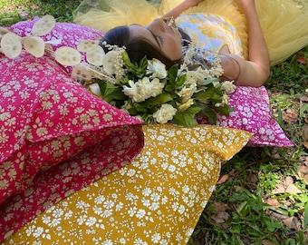 Single LUXE LIBERTY PILLOWCASE // Made with Liberty Fabric Tana Lawn// Liberty print Capel G (Mustard) // Standard Size