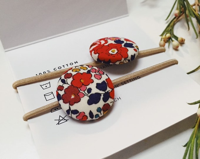 LIBERTY BUTTON Hair-Ties Constructed from Liberty Fabric Cotton Tana Lawn, set of two (2) - Betsy Ann - Limited Edition (red-navy)