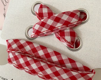 Red + White GINGHAM SHOELACES in adult and children's sizes - Cotton laces