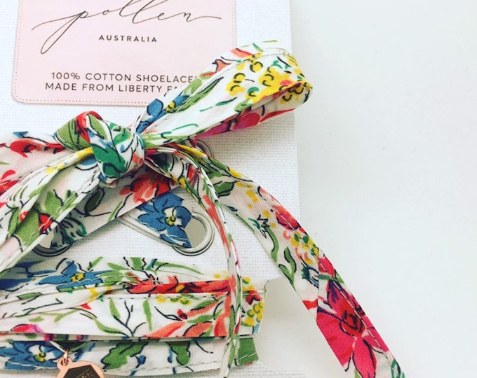 SHOELACES made in Liberty tana lawn cotton Fabric in adult and children's sizes - Liberty print DENROBIUM