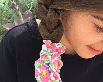 SCRUNCHIE made in Liberty Fabric - hair accessories for women and children. Liberty print Betsy 19A (Pink/Purple) one