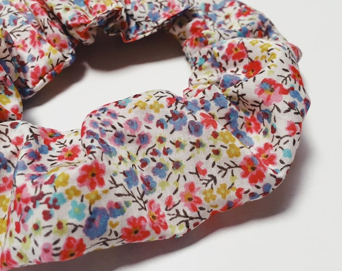 SCRUNCHIE made in Liberty Fabric - hair accessories for women and children. Liberty print PHOEBE (apricot-blue) size large