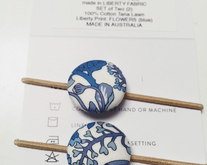 LIBERTY BUTTON Hair-ties Constructed from Liberty Fabric Cotton Tana Lawn set of two (2) Liberty print FLOWERS (blue)